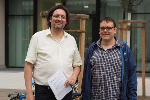 RingFrei-Sprecher Reinhold Goss und Christoph Schmidt vom ADFC Köln